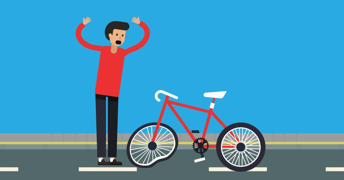Man with Broken Bike upset