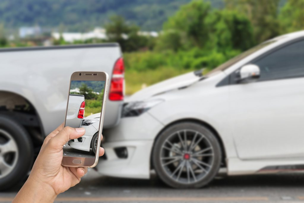 Taking photo of accident scene with cell phone