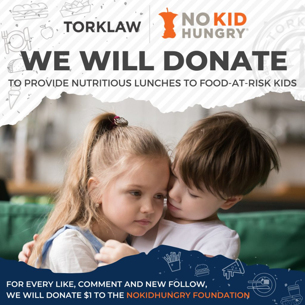 TorkLaw Supporting 'No Kid Hungry' class=