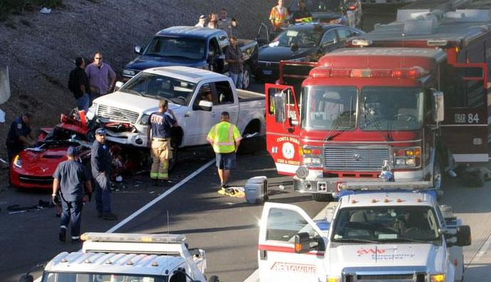 Costa Mesa Truck Accident Traps Injured Man In Corvette
