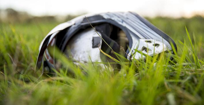 grass clippings kill motorcyclists - helmet