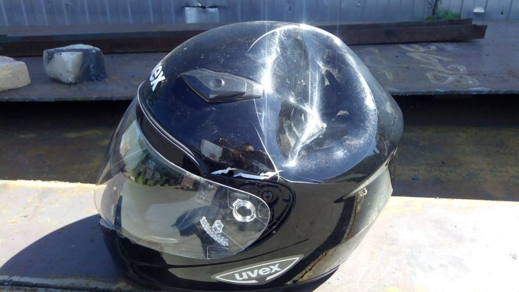 Motorcycle Helmet Dented From Accident