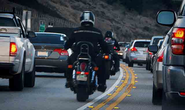 Lane Splitting Motorcyclist