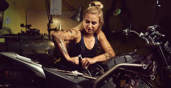 Female Motorcycle Mechanic